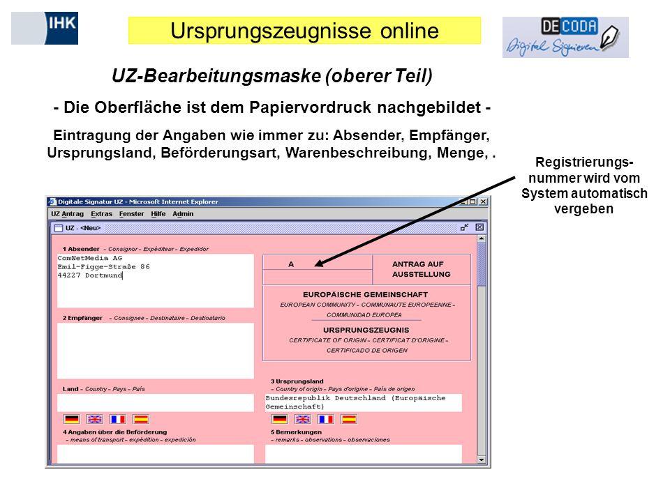 UZ-Bearbeitungsmaske (oberer Teil)