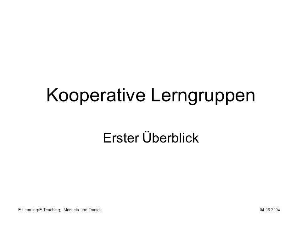 Kooperative Lerngruppen