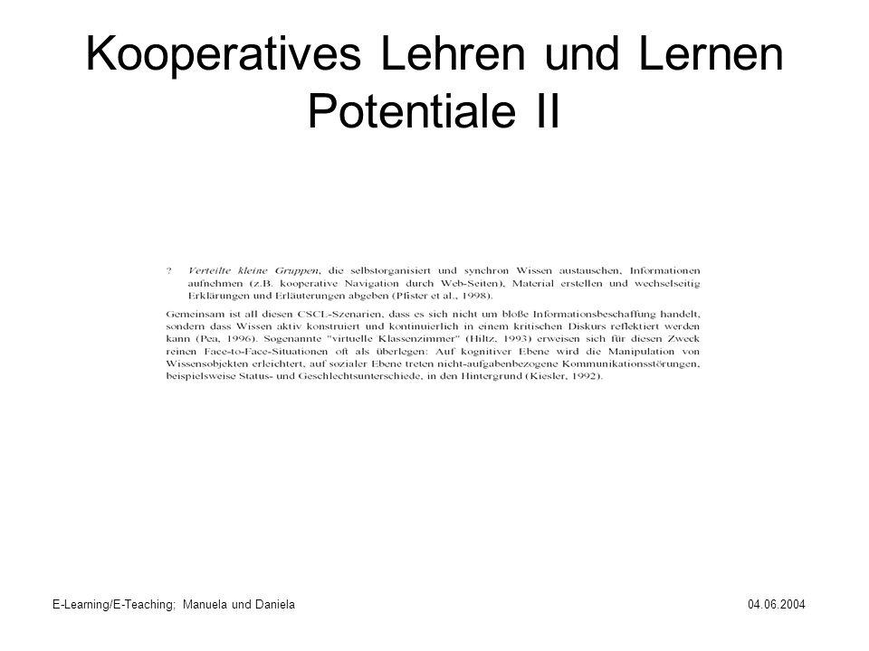 Kooperatives Lehren und Lernen Potentiale II