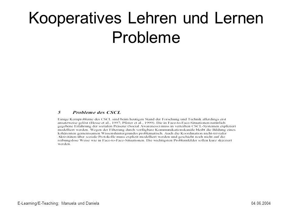 Kooperatives Lehren und Lernen Probleme