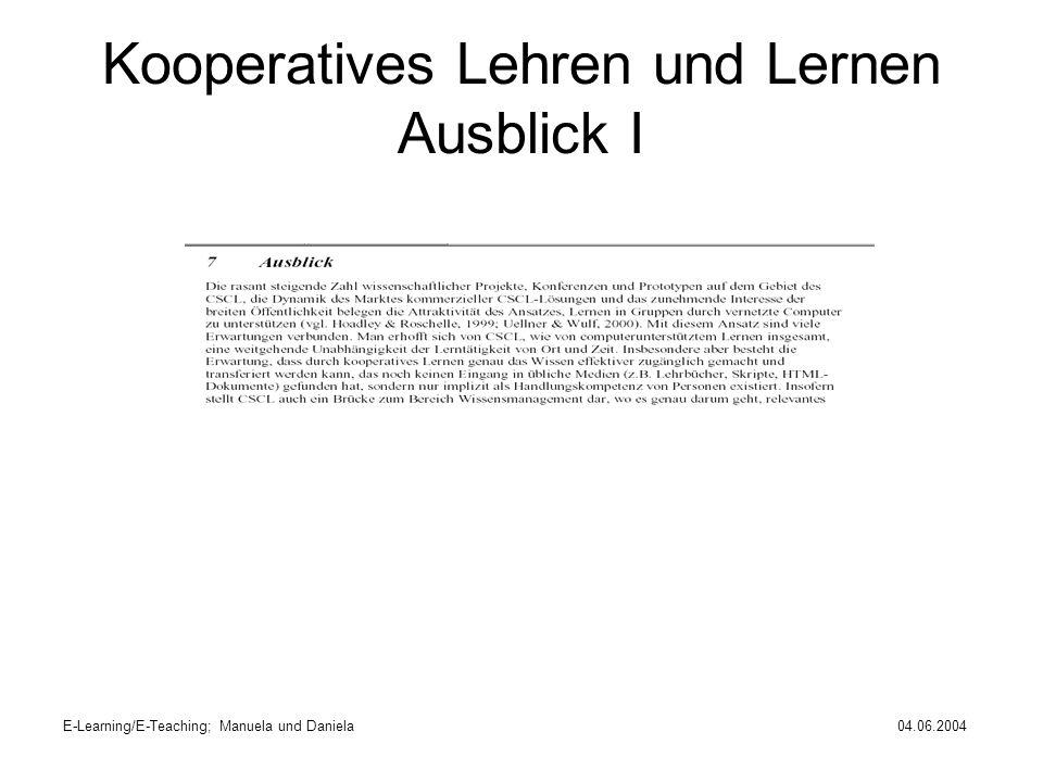 Kooperatives Lehren und Lernen Ausblick I
