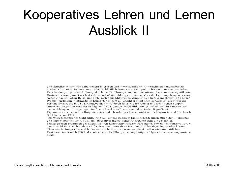 Kooperatives Lehren und Lernen Ausblick II