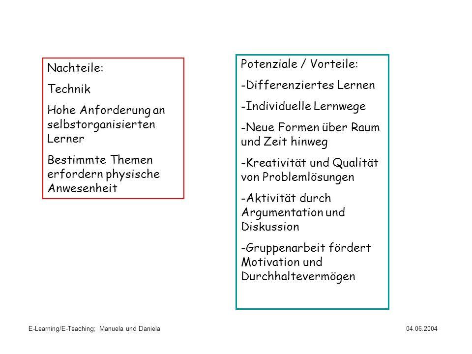 Potenziale / Vorteile: Differenziertes Lernen Individuelle Lernwege