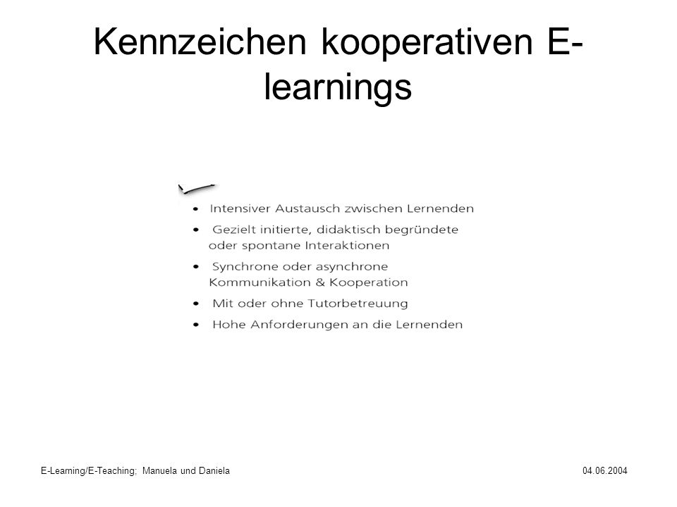 Kennzeichen kooperativen E-learnings