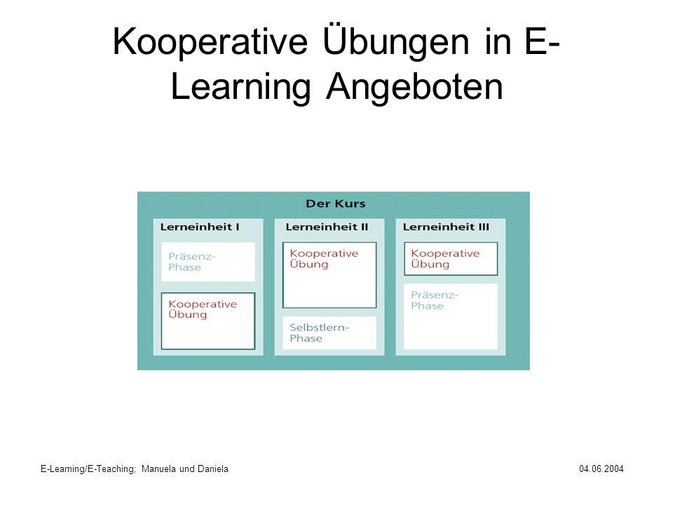 Kooperative Übungen in E-Learning Angeboten