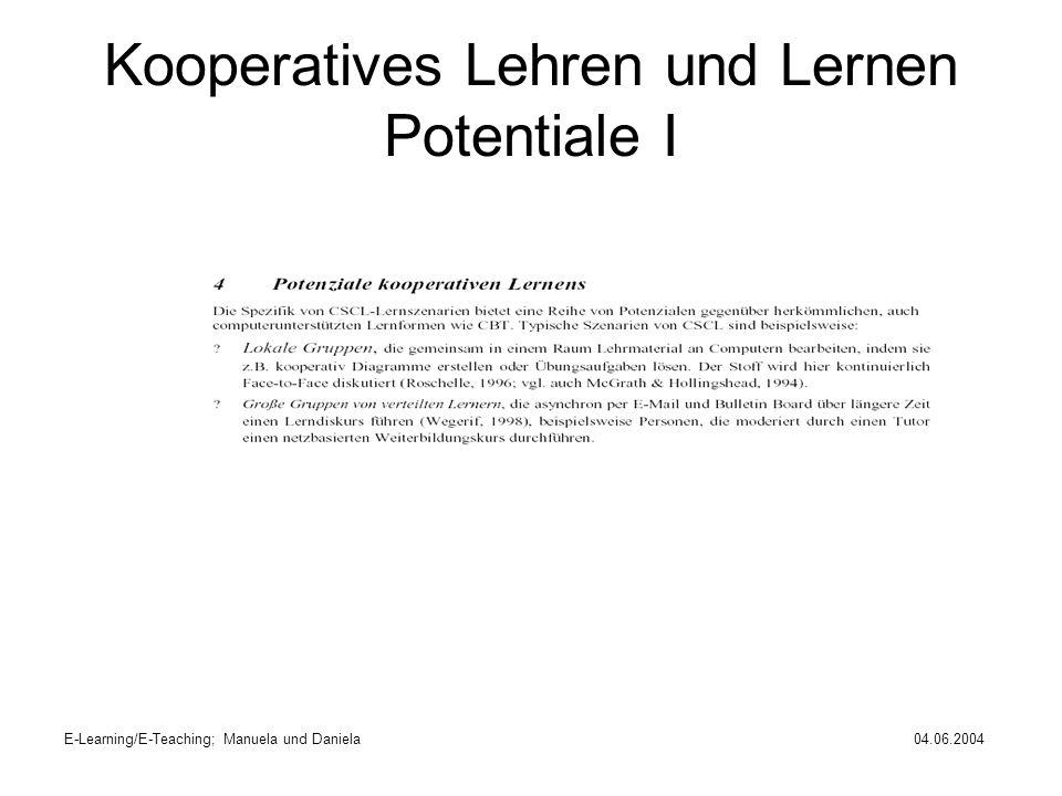 Kooperatives Lehren und Lernen Potentiale I