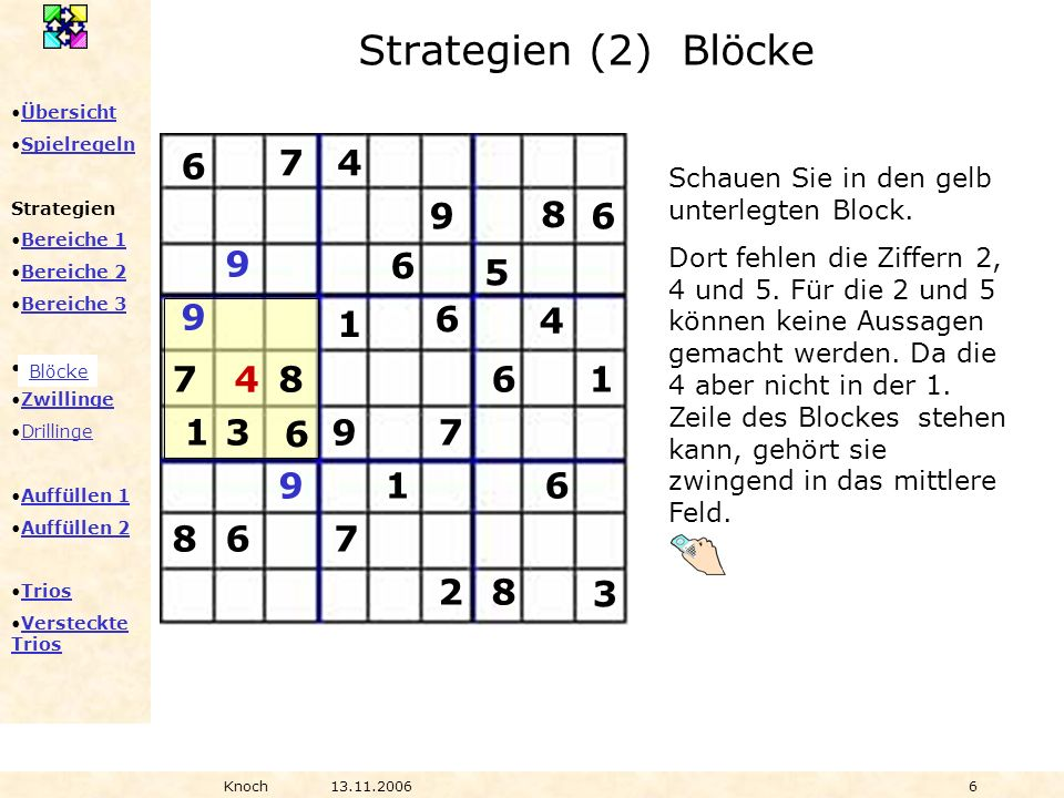 Strategien (2) Blöcke6. 7. 4. Schauen Sie in den gelb unterlegten Block.