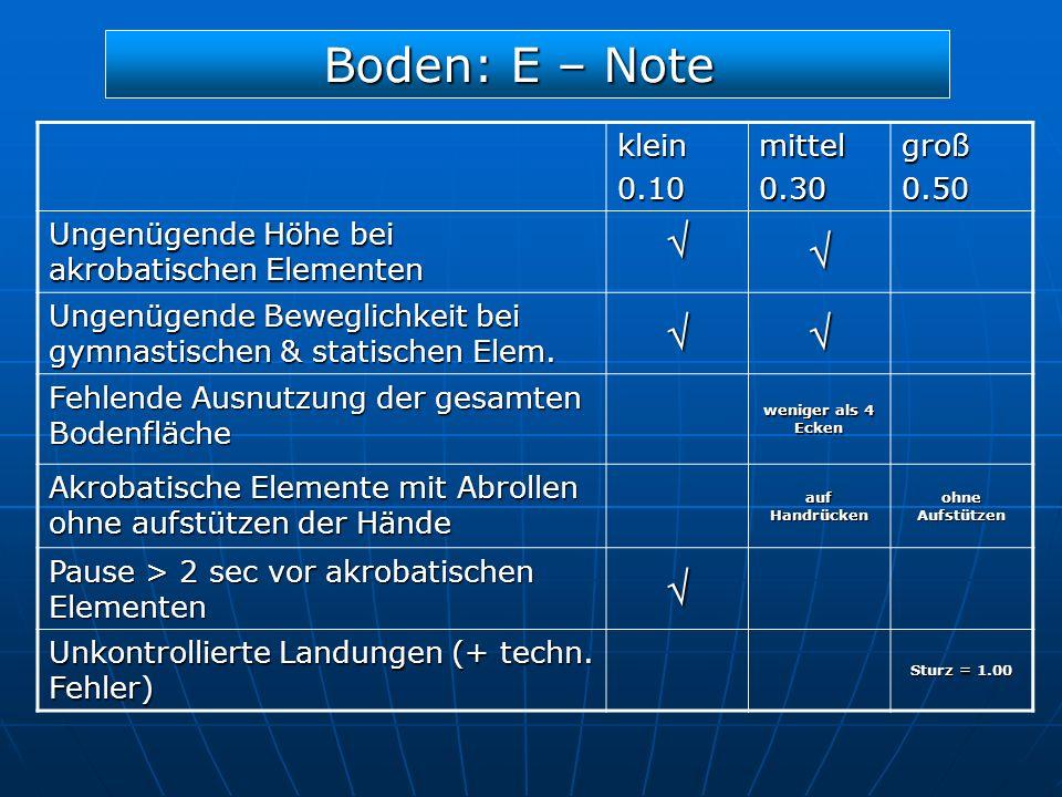 Boden: E – Note  klein 0.10 mittel 0.30 groß 0.50
