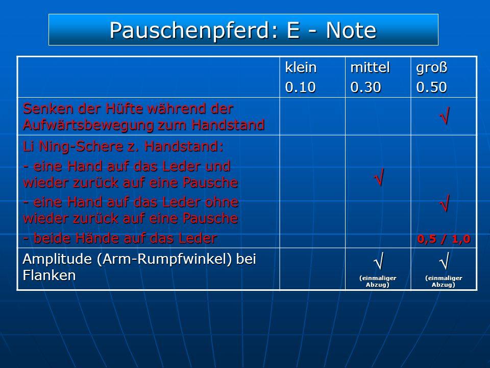 Pauschenpferd: E - Note