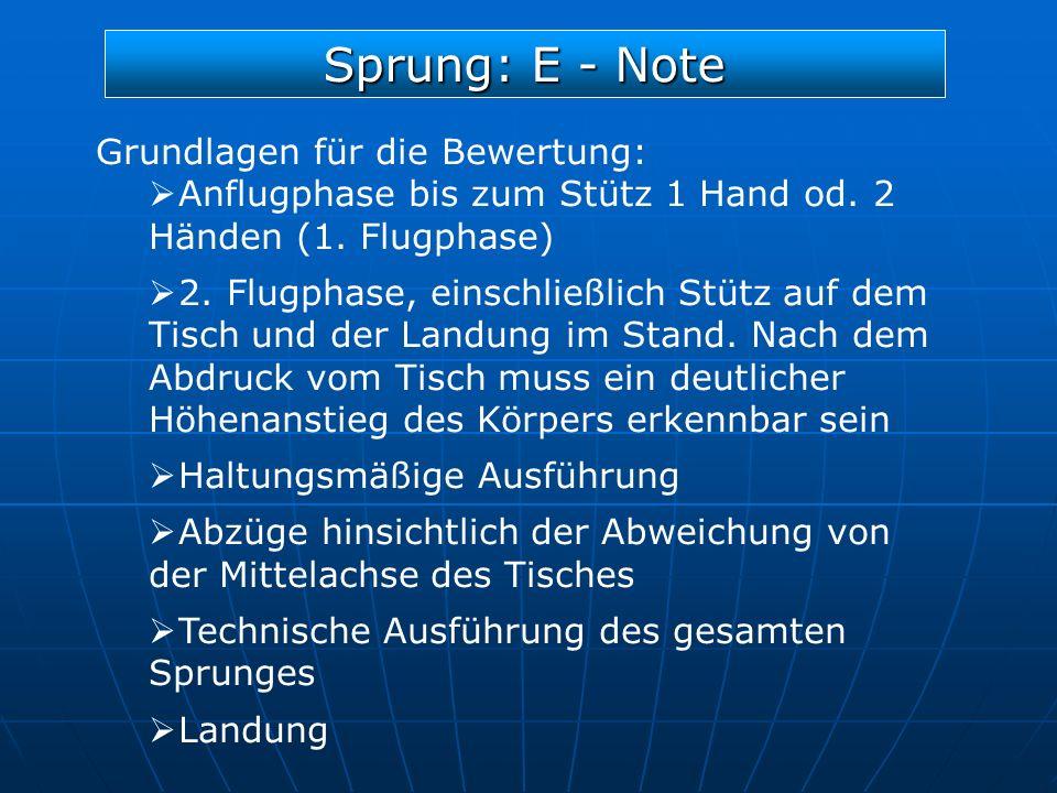 Sprung: E - Note Grundlagen für die Bewertung: