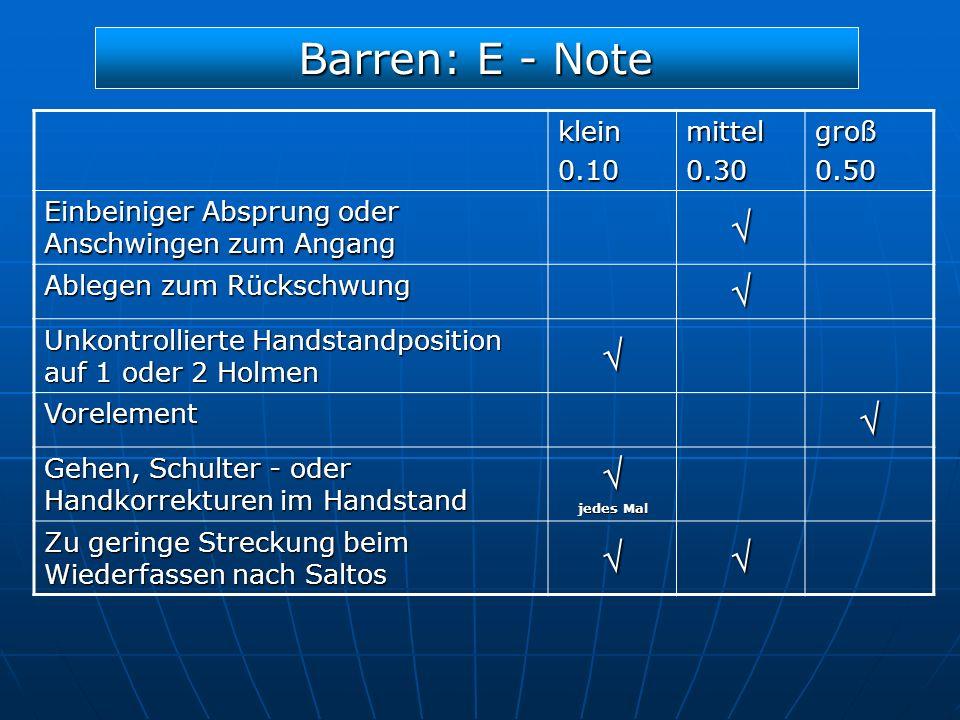 Barren: E - Note  klein 0.10 mittel 0.30 groß 0.50