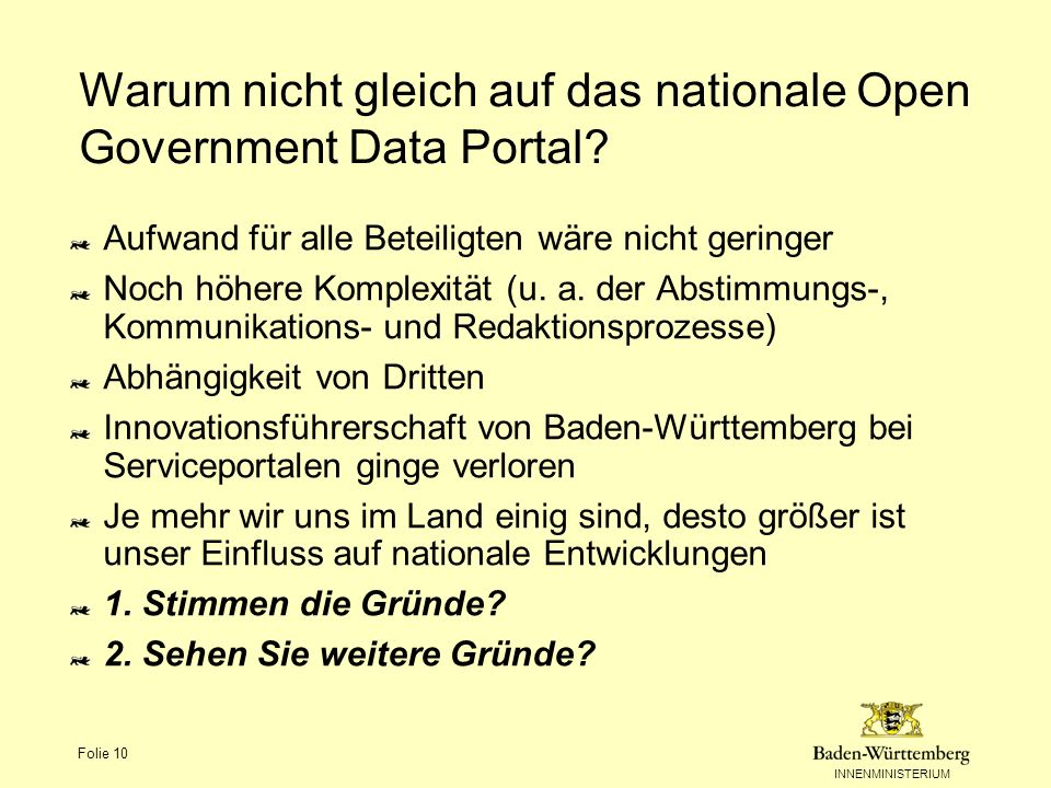 Warum nicht gleich auf das nationale Open Government Data Portal