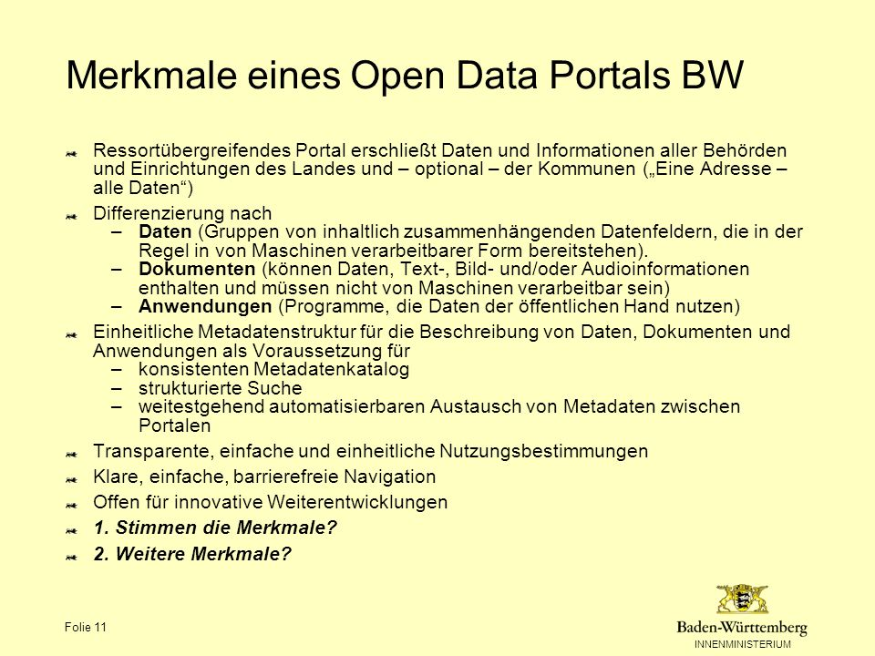 Merkmale eines Open Data Portals BW