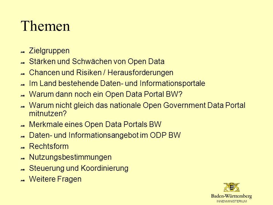 Themen Zielgruppen Stärken und Schwächen von Open Data