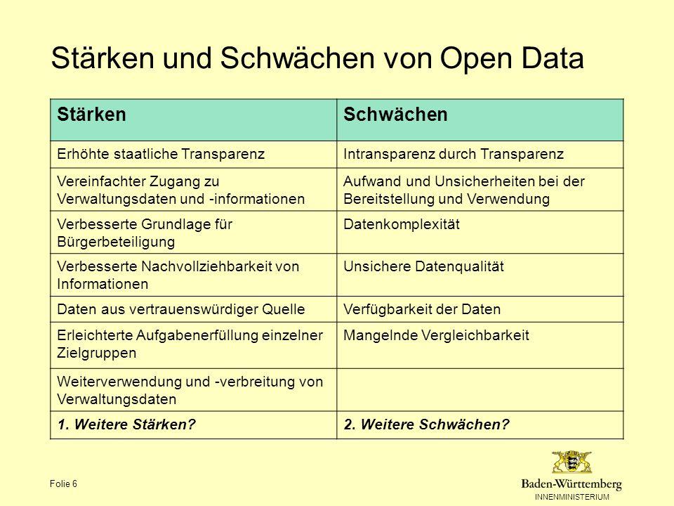 Stärken und Schwächen von Open Data