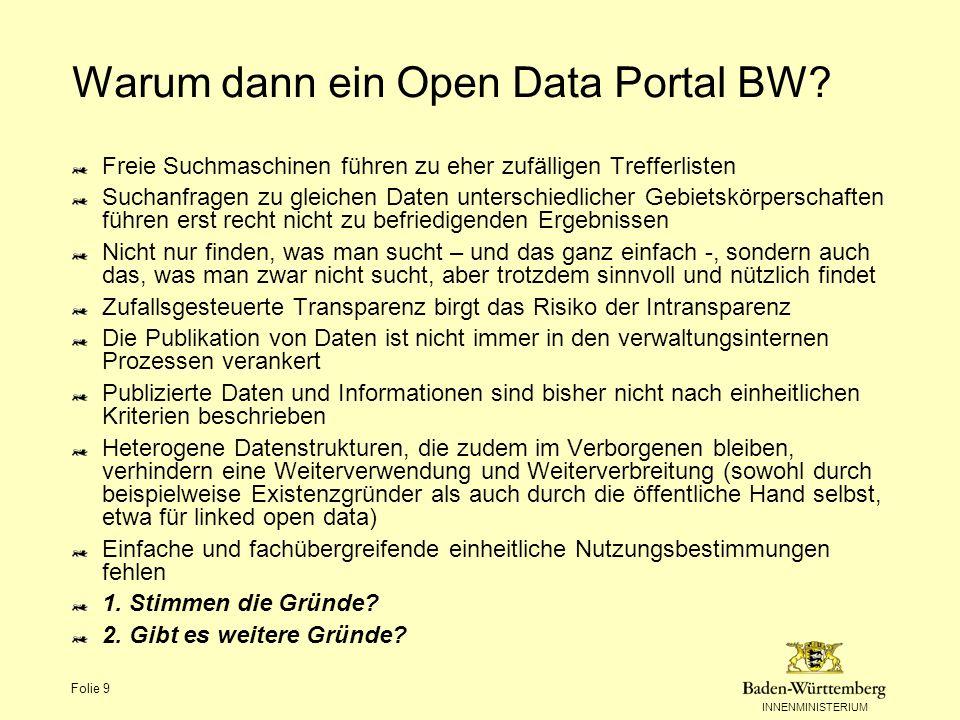 Warum dann ein Open Data Portal BW