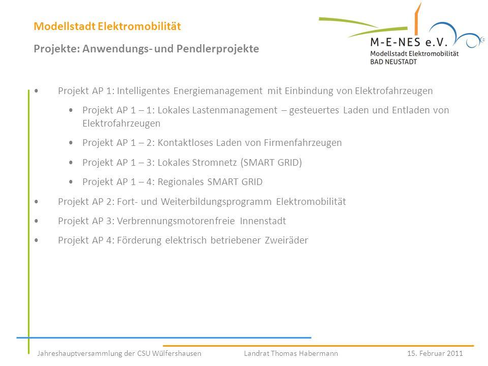 Modellstadt Elektromobilität Projekte: Anwendungs- und Pendlerprojekte