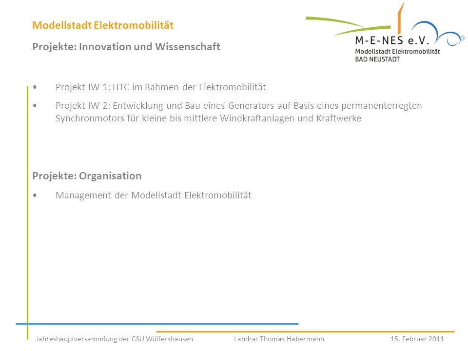 Modellstadt Elektromobilität Projekte: Innovation und Wissenschaft