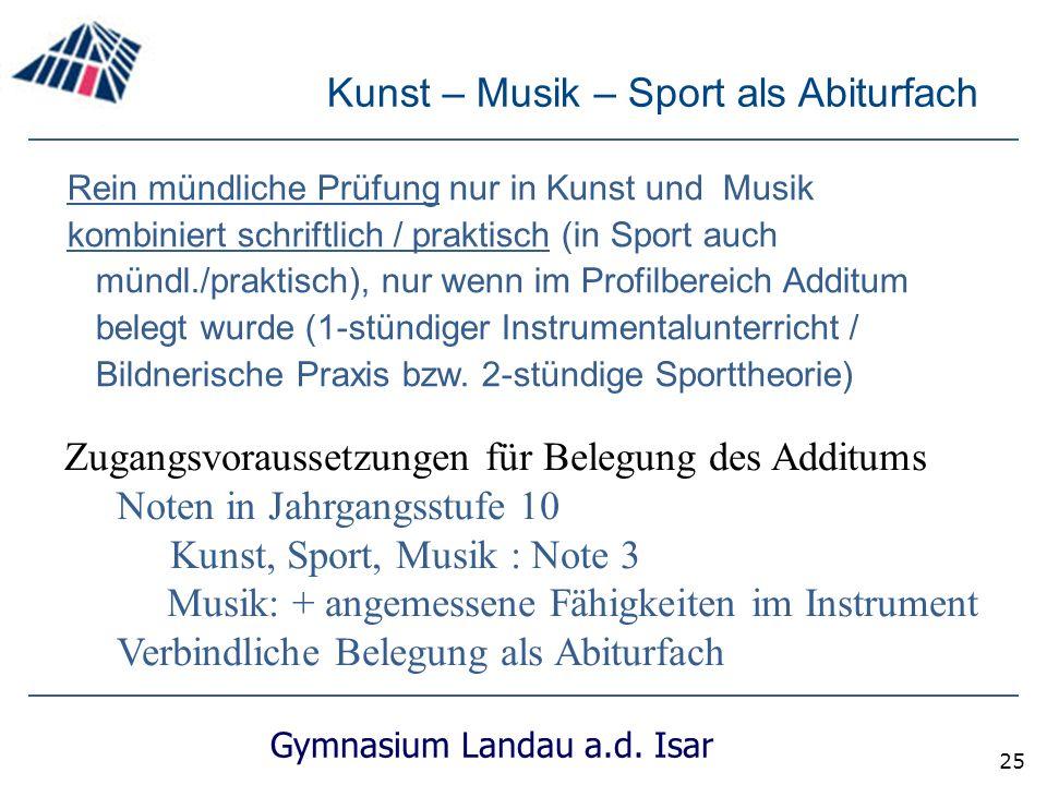 Kunst – Musik – Sport als Abiturfach