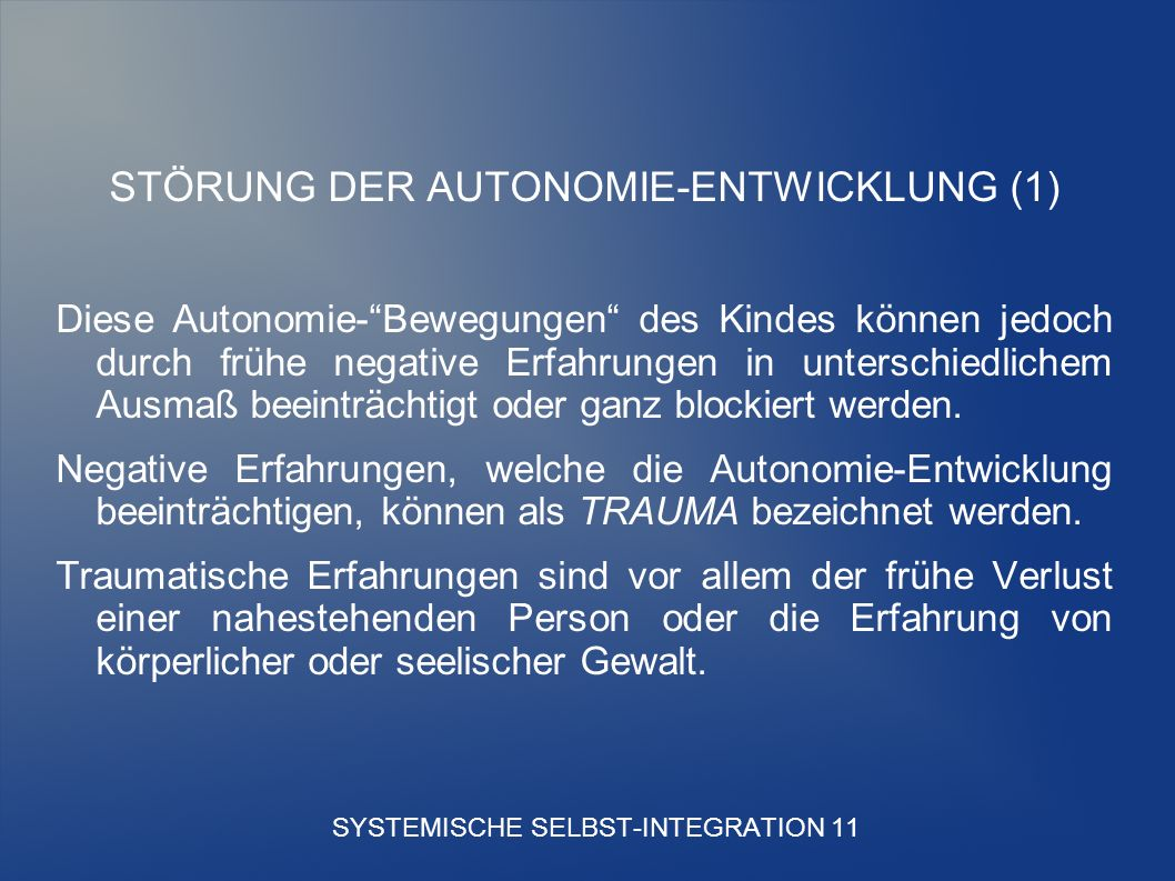 SYSTEMISCHE SELBST-INTEGRATION 11