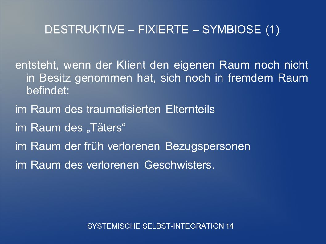 SYSTEMISCHE SELBST-INTEGRATION 14