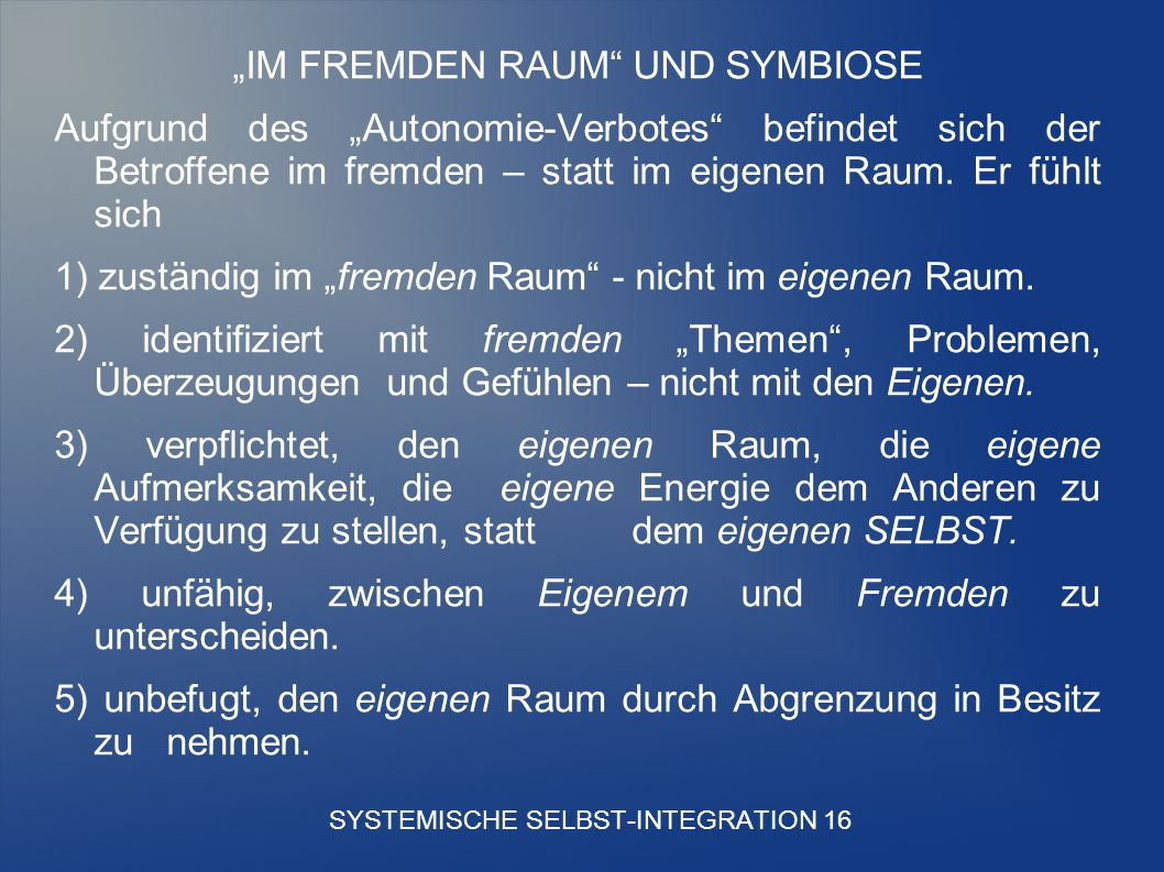 SYSTEMISCHE SELBST-INTEGRATION 16