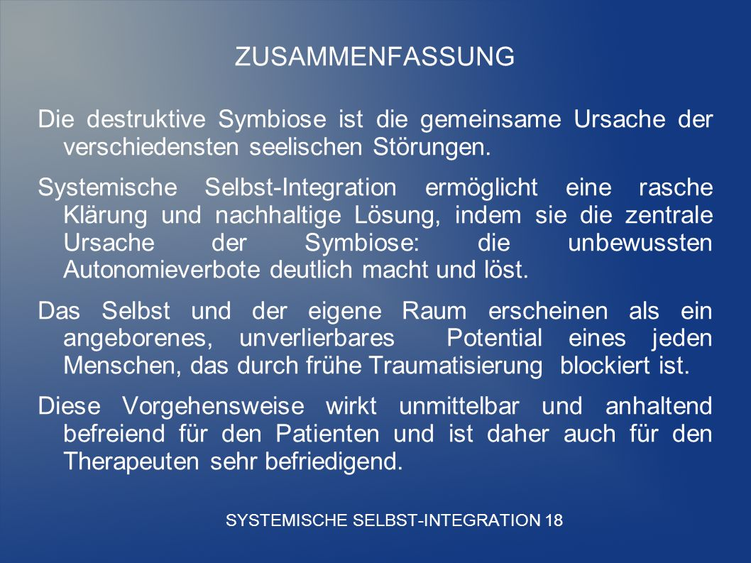 SYSTEMISCHE SELBST-INTEGRATION 18