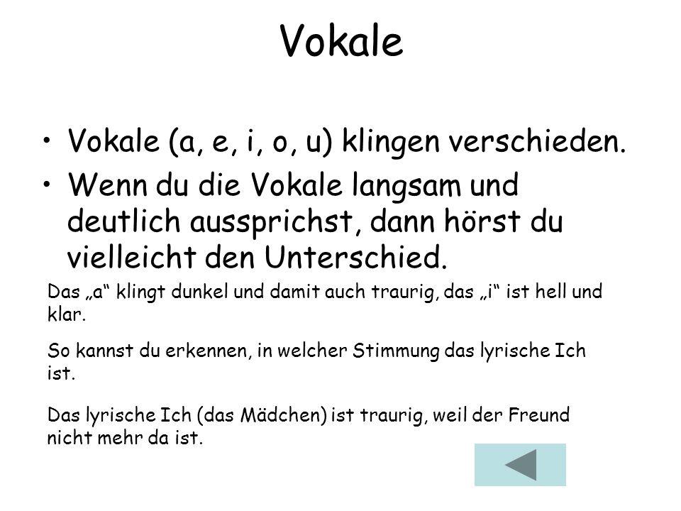 Vokale Vokale (a, e, i, o, u) klingen verschieden.
