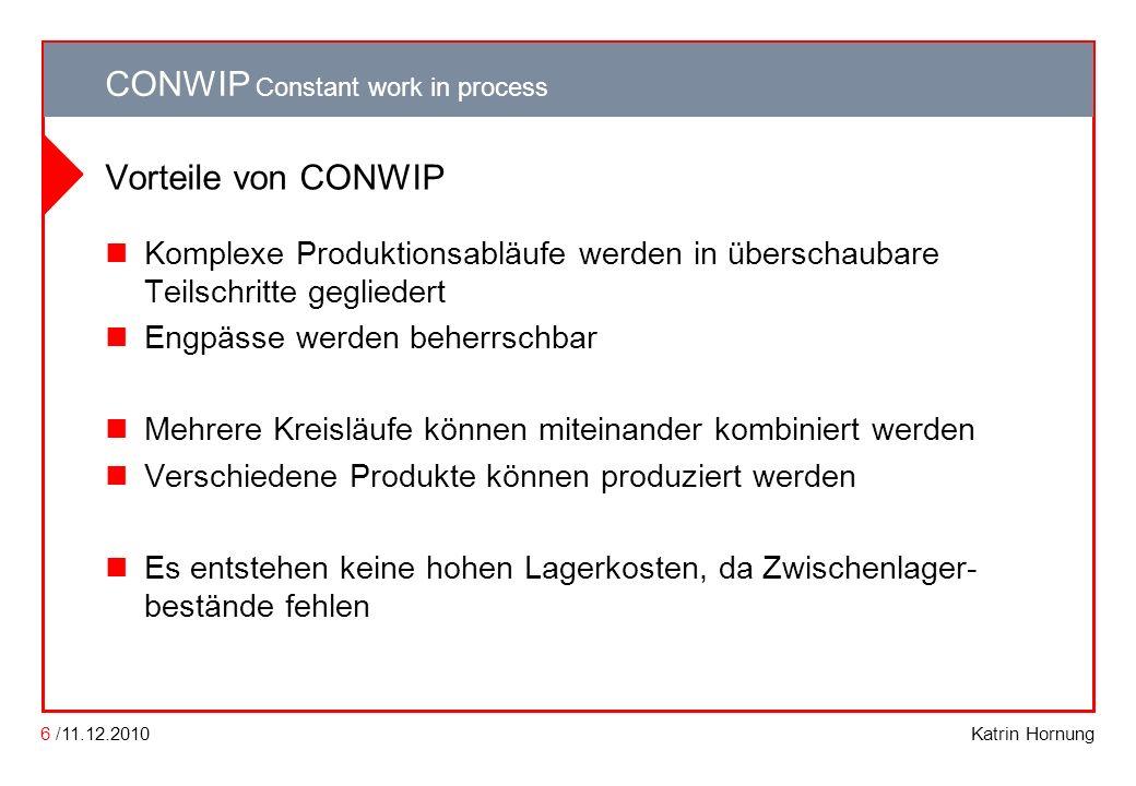 Vorteile von CONWIP Komplexe Produktionsabläufe werden in überschaubare Teilschritte gegliedert. Engpässe werden beherrschbar.