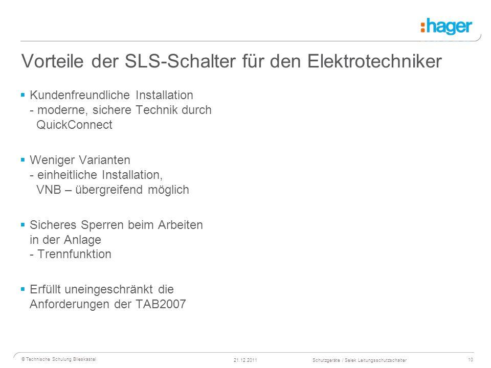 Vorteile der SLS-Schalter für den Elektrotechniker