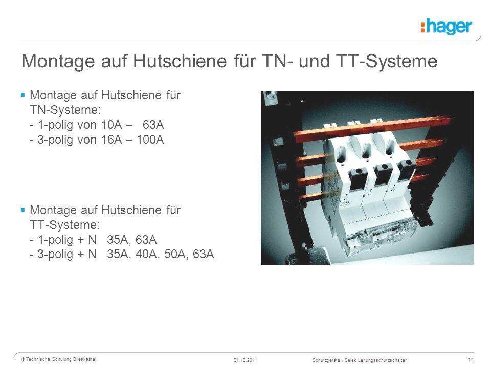 Montage auf Hutschiene für TN- und TT-Systeme