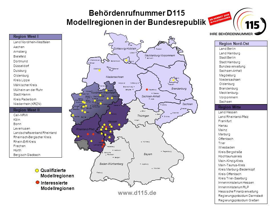 Modellregionen in der Bundesrepublik