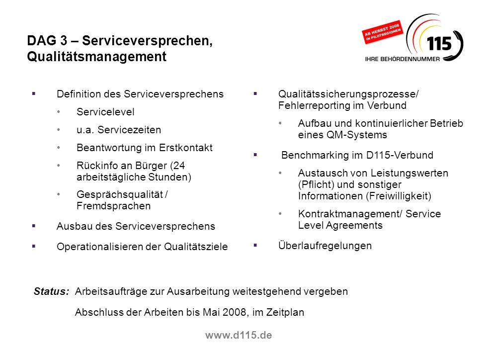 DAG 3 – Serviceversprechen, Qualitätsmanagement