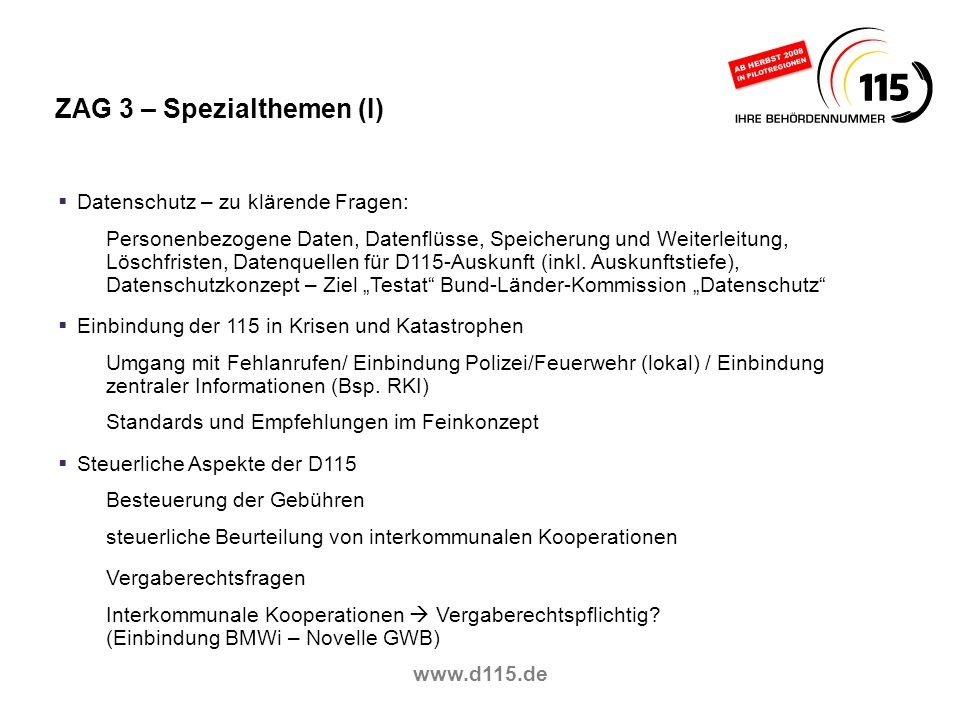 ZAG 3 – Spezialthemen (I)