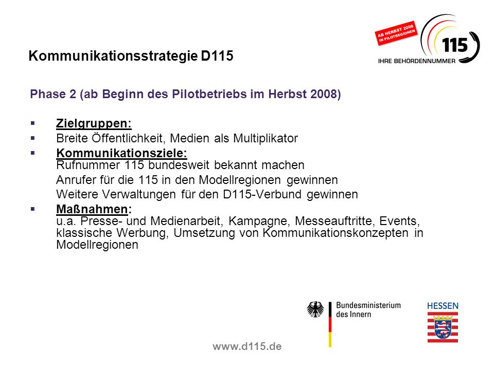 Kommunikationsstrategie D115