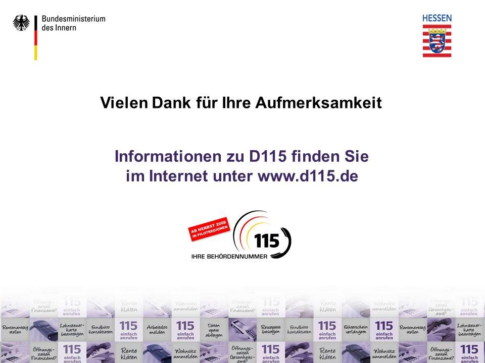 Informationen zu D115 finden Sie Vielen Dank für Ihre Aufmerksamkeit