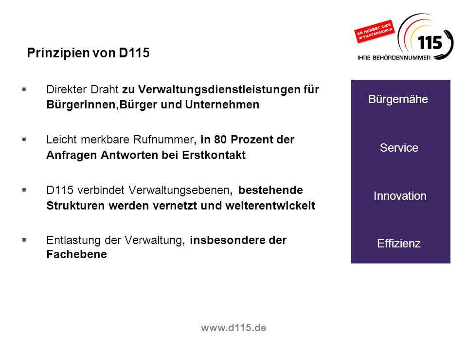 Prinzipien von D115Direkter Draht zu Verwaltungsdienstleistungen für Bürgerinnen,Bürger und Unternehmen.