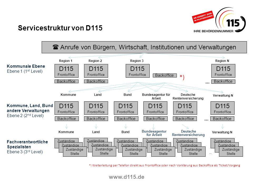 Servicestruktur von D115 Anrufe von Bürgern, Wirtschaft, Institutionen und Verwaltungen. Region 1.