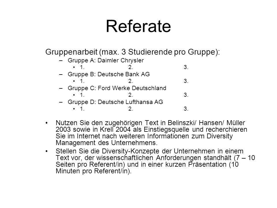 Referate Gruppenarbeit (max. 3 Studierende pro Gruppe):