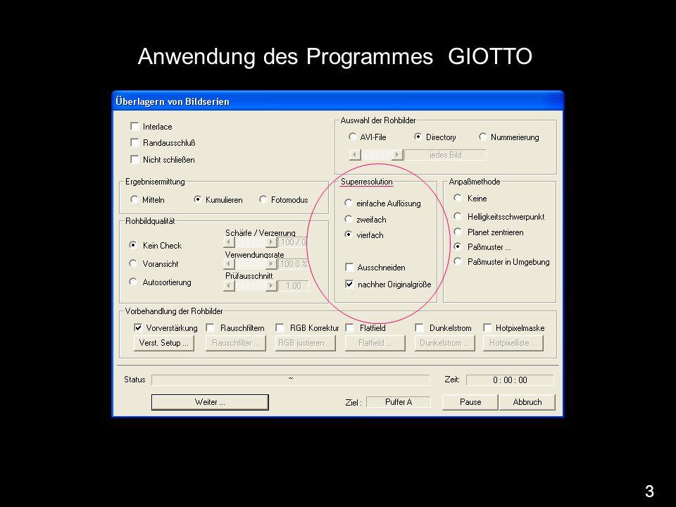 Anwendung des Programmes GIOTTO