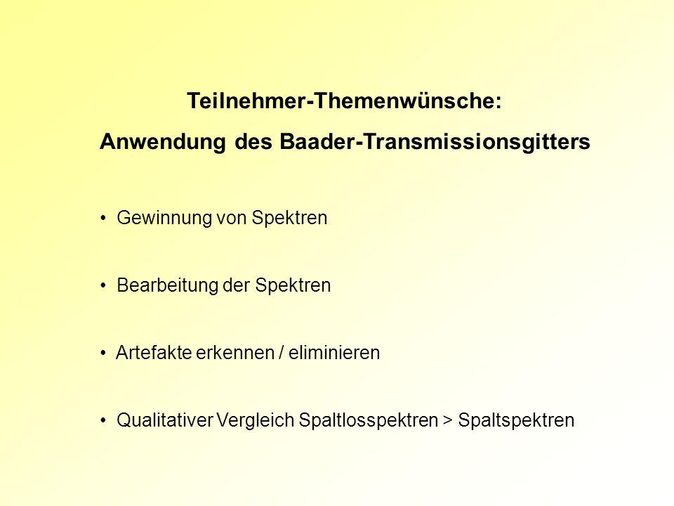 Teilnehmer-Themenwünsche: Anwendung des Baader-Transmissionsgitters