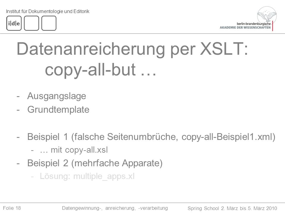 Datenanreicherung per XSLT: copy-all-but …