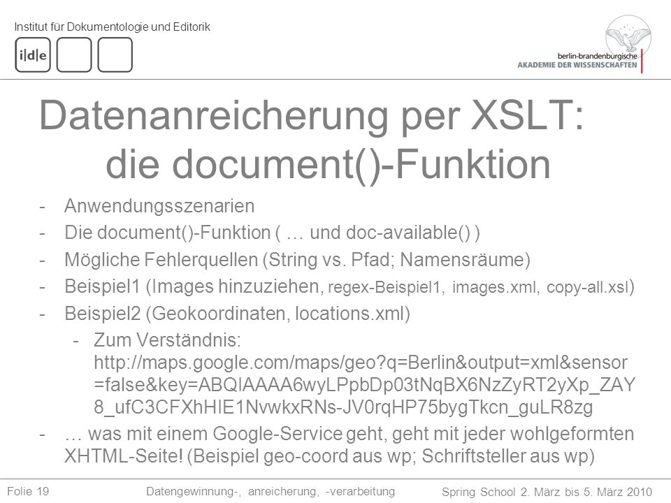 Datenanreicherung per XSLT: die document()-Funktion