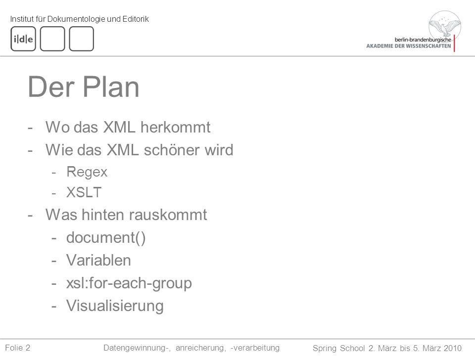 Der Plan Wo das XML herkommt Wie das XML schöner wird