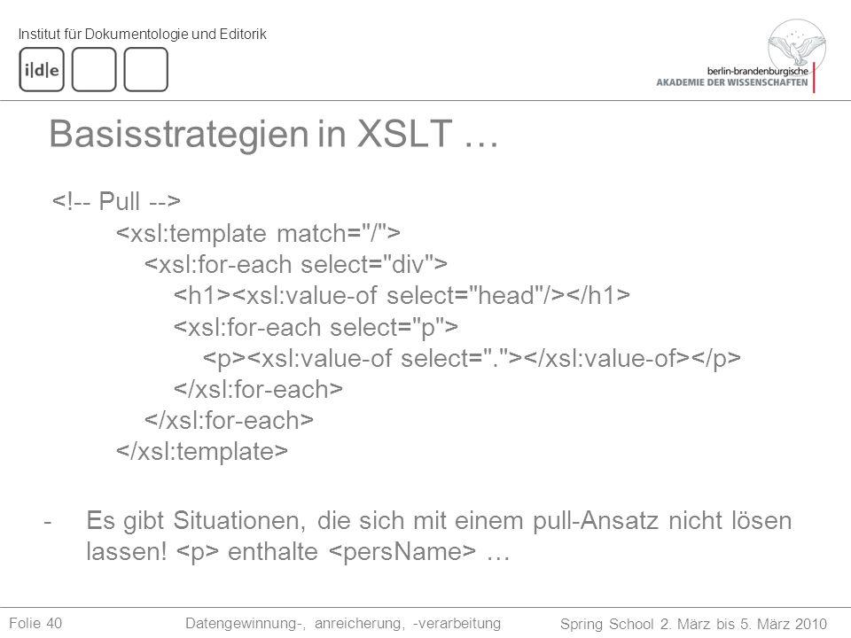 Basisstrategien in XSLT …