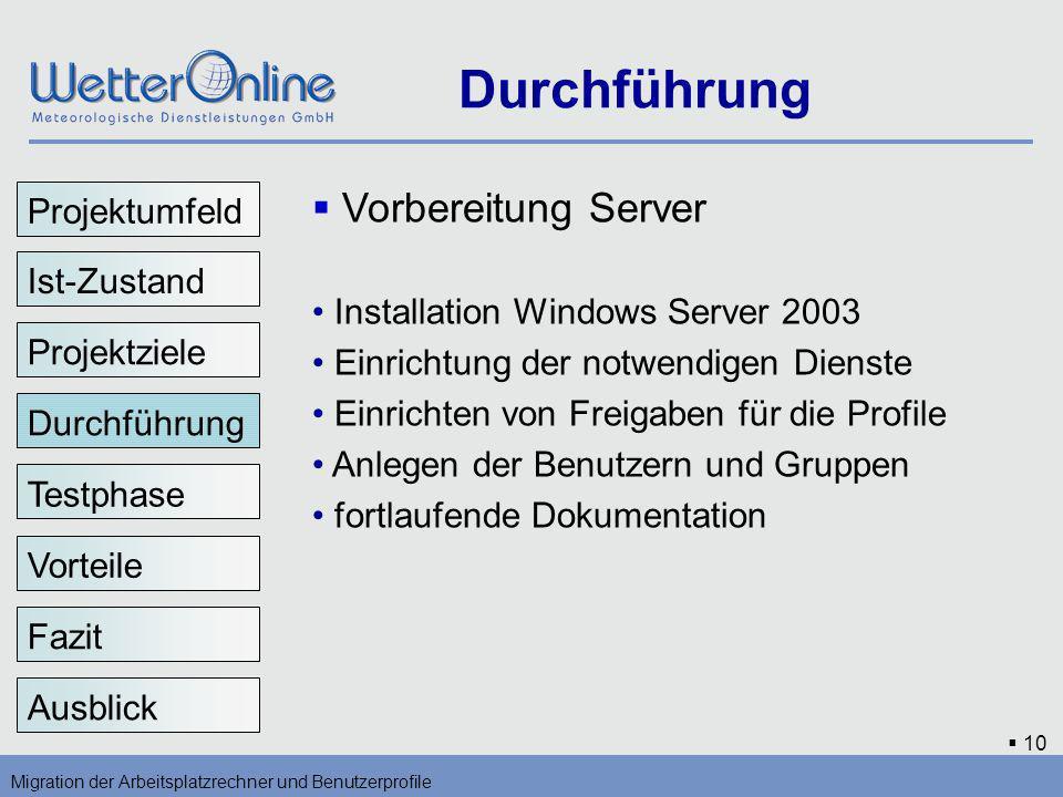 Durchführung Vorbereitung Server Projektumfeld