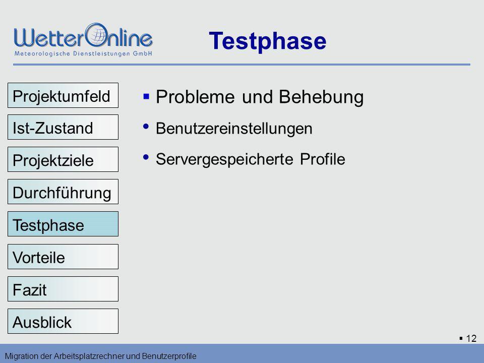 Testphase Benutzereinstellungen Servergespeicherte Profile