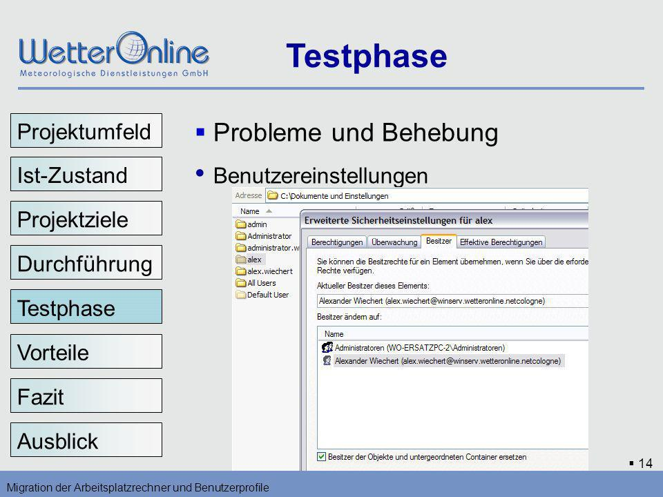 Testphase Benutzereinstellungen Probleme und Behebung Projektumfeld