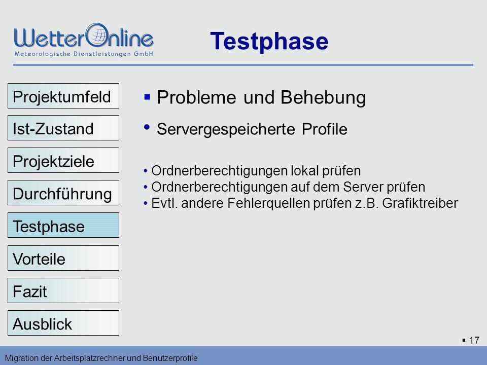 Testphase Servergespeicherte Profile Probleme und Behebung