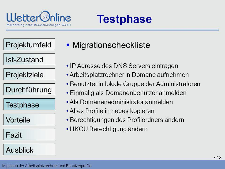 Testphase Migrationscheckliste Projektumfeld Ist-Zustand Projektziele
